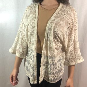 Zara | Cream Sheer Cover Up Cardigan 3/4 Bell Slee